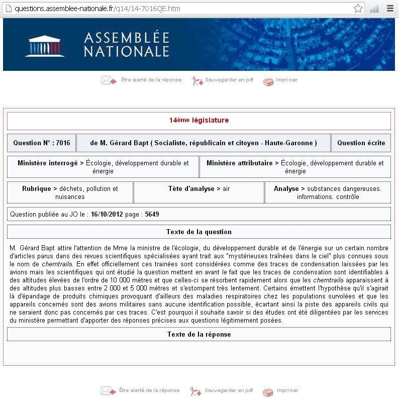 ¤ Chemtrails : question écrite du député français Gérard BAPT (16/10/2012) dans Chemtrails et pluies de fils/fibres/etc... qe70161